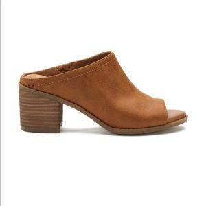 Shoes - Slip on tan mules peep toe NWT